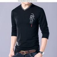 夏季男式T恤新款男士V领长袖t恤青年商务时尚精品休闲男装
